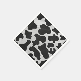 Cow Black and White Print Paper Napkins