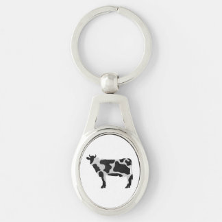 Cow Black and White Silhouette Silver-Colored Oval Keychain