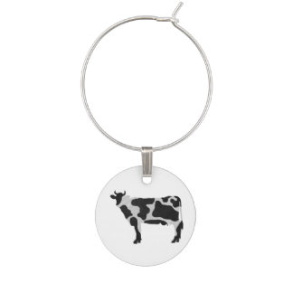 Cow Black and White Silhouette Wine Glass Charm