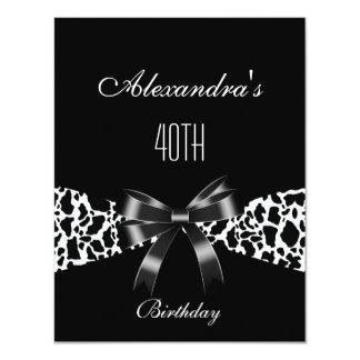 Cow Black White 40th Birthday Invitation