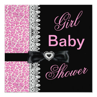 """Cow black white Pink Girl Baby Shower Lace 5.25"""" Square Invitation Card"""
