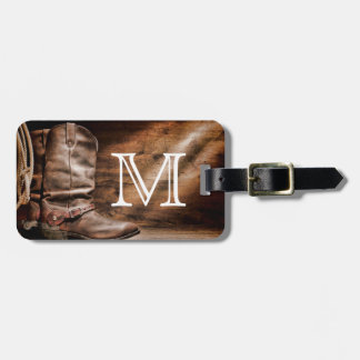 Cow Boy Boots Spur Country Monogram Luggage Tag