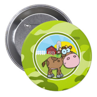 Cow bright green camo camouflage buttons