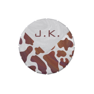 Cow Brown and White Monogram