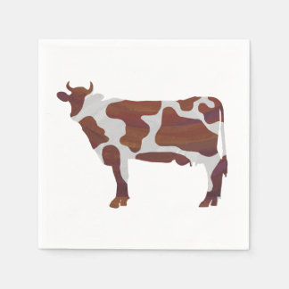 Cow Brown and White Silhouette Paper Napkin