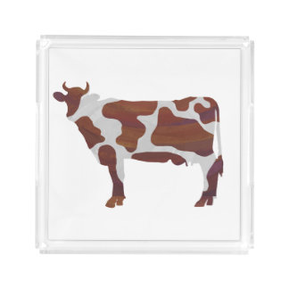 Cow Brown and White Silhouette Perfume Tray