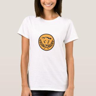 Cow Bull Head Laurel Circle Retro T-Shirt