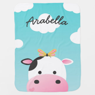 Cow & Butterfly BFFs Custom Name Baby Blanket