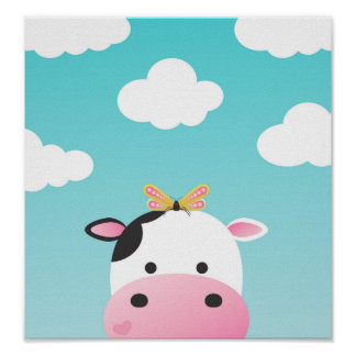 Cow & Butterfly BFFs Nursery Poster
