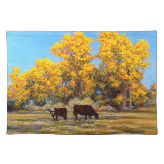 Cow & Calf in Fall Trees 1 Sided Cotton Placemat