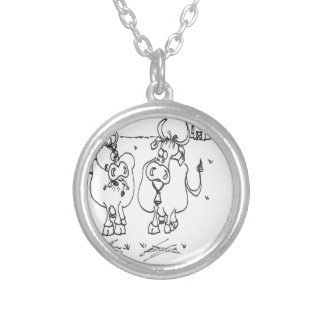 Cow Cartoon 3348 Silver Plated Necklace