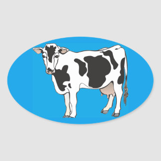 cow cartoon vectors--b oval sticker