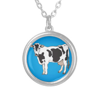 cow cartoon vectors--b silver plated necklace