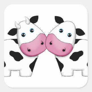 Cow Couple Square Sticker