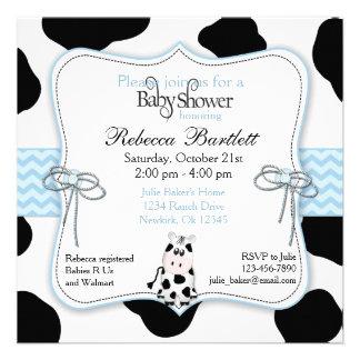 Cow Cowboy Baby Shower Invitation