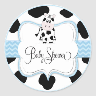 Cow Cowboy Sticker in Blue