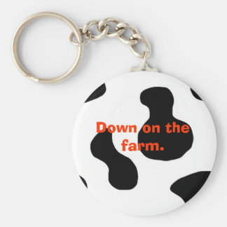 cow, Down on the farm. Basic Round Button Keychain