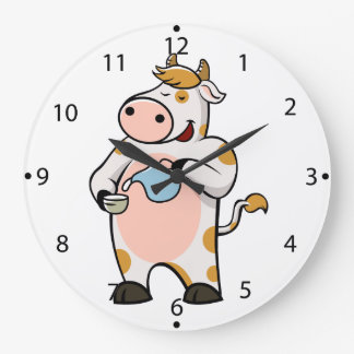 cow drinking milk wallclocks