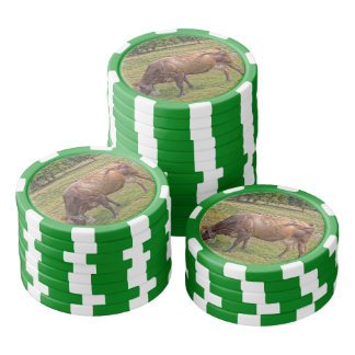 cow eating in a meadow poker chips set