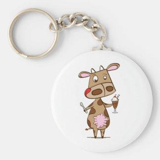 Cow enjoying a milkshake basic round button keychain