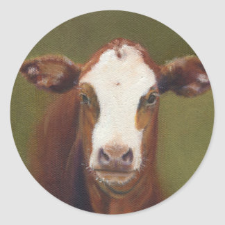 Cow Face Classic Round Sticker