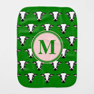COW FACE tiled zazzle pattern dark green.png Baby Burp Cloth