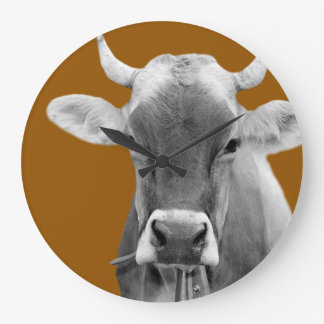 Cow farm animal photo black and white large clock