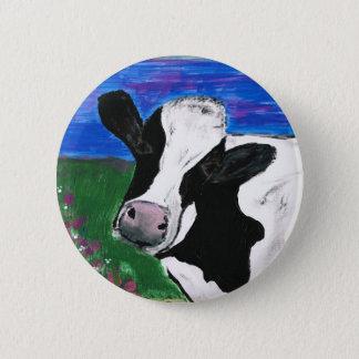 Cow, Farm, Animal, rural, hand painted calf. 2 Inch Round Button