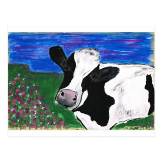 Cow, Farm, Animal, rural, hand painted calf. Postcard
