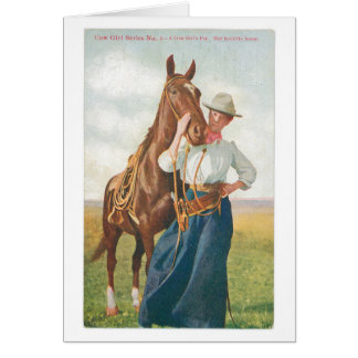 Cow Girl and Her Horse Greeting Card
