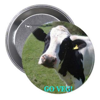 cow, GO VEG! 3 Inch Round Button