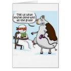 Cow Grass Hairdryer Snowman Winter Card