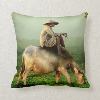 Cow Grazing with Farmer in a Scenic Pasture Throw Pillow