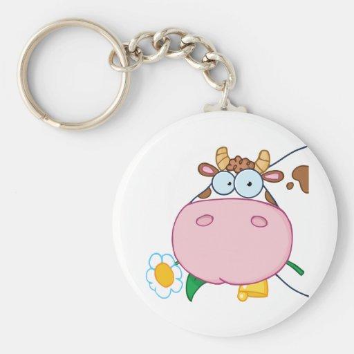 Cow Head Cartoon Character Key Chain