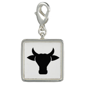 Cow Head Silhouette Photo Charm