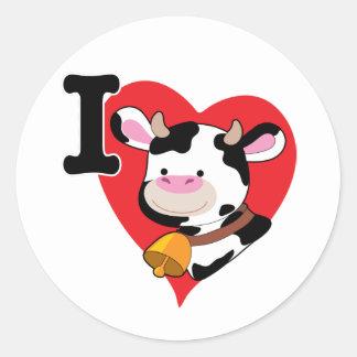 Cow Heart Classic Round Sticker