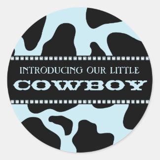 Cow Hide Print Blue Cowboy Baby Shower Sticker
