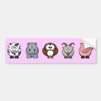 Cow Hippo Owl Goat Pig Bumper Sticker