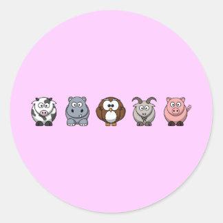 Cow Hippo Owl Goat Pig Classic Round Sticker