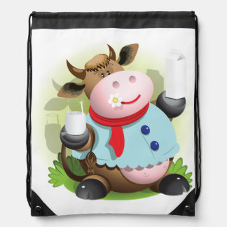 Cow Holding A Glass Of Milk Drawstring Backpack