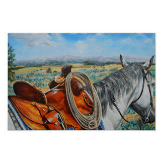 Cow horse, saddle, cowboy, mountain landscape poster
