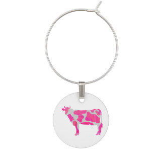Cow Hot Pink and White Silhouette Wine Glass Charms