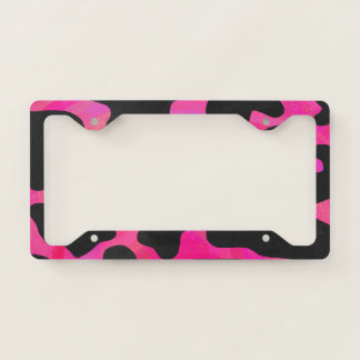Cow Hot Pink Painted Pattern License Plate Frame