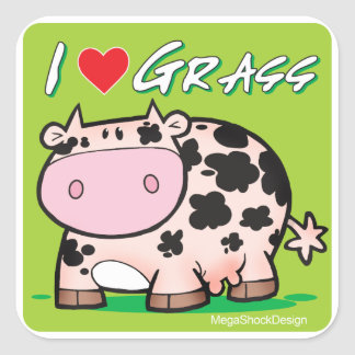 Cow I love grass Square Sticker