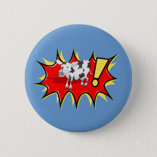 Cow in a KAPOW starburst 2 Inch Round Button