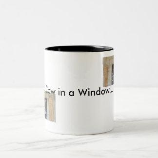 Cow in a Window Two-Tone Coffee Mug
