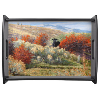 Cow in Fall Setting Serving Tray