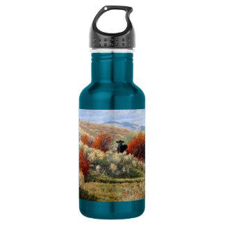 Cow in Fall Setting Water Bottle