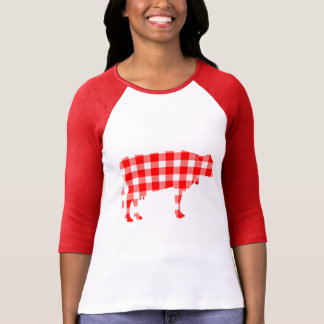 Cow in Plaid T-Shirt