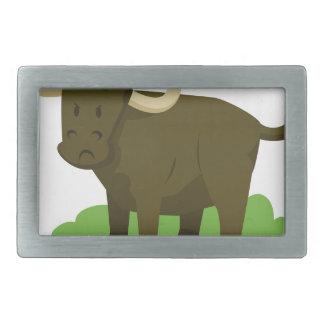 cow in the grass rectangular belt buckles